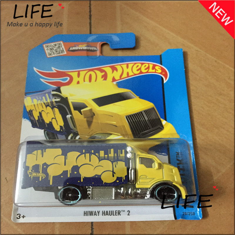 Free Shipping Hot Wheels Hiway Hauler 2 Car Models Metal Diecast Cars Collection Kids Toys Vehicle For Children Juguetes 52(China (Mainland))