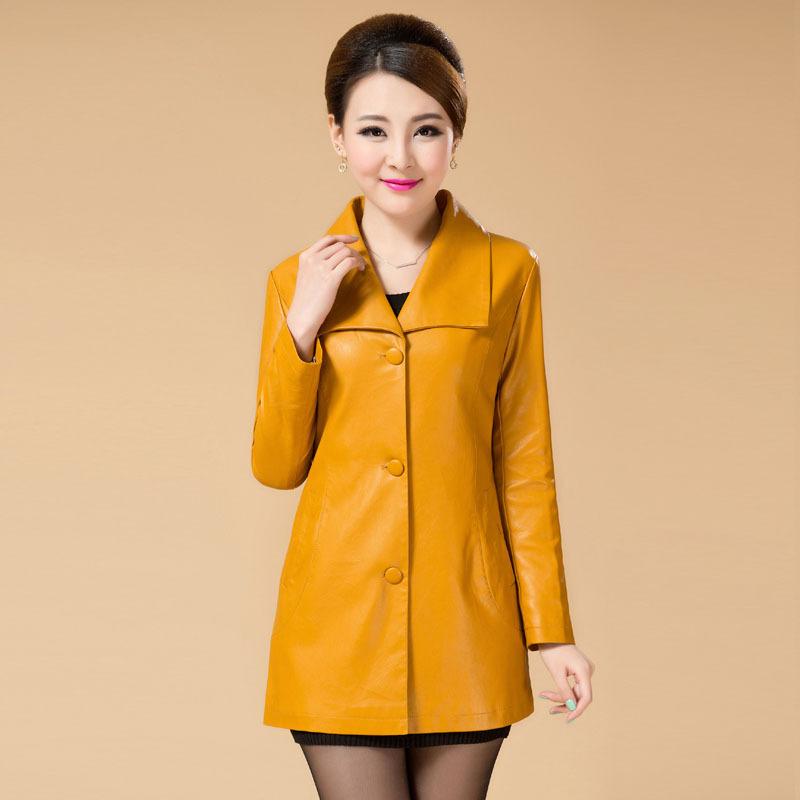 women's designer Europe 2015 new spring plus size leather sheep skin windbreaker long slim coat outerwear