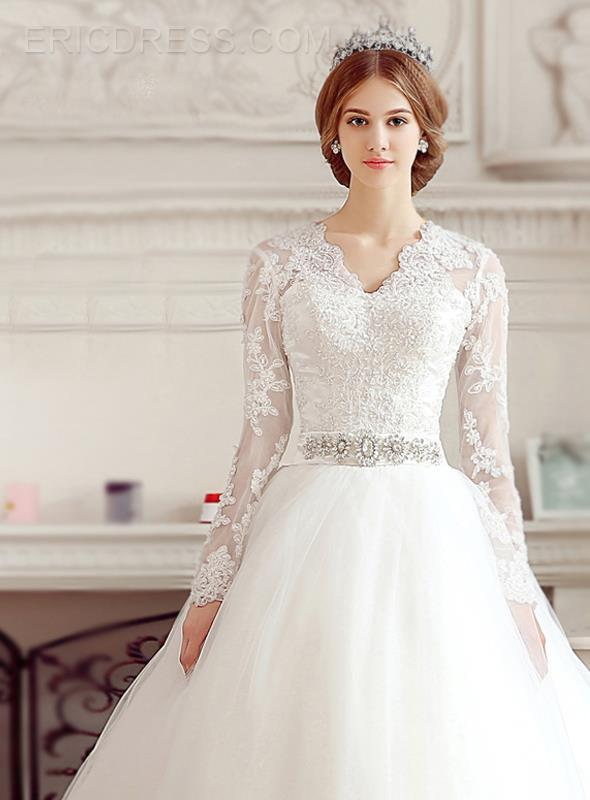 Long sleeve lace plus size wedding dresses