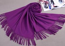 Hot New Purple Women Winter Cashmere Shawl Scarf Thick Warm Pashmina Cape Tassels Wrap Chal Mujer bufanda Size180 x 69 cm C-010