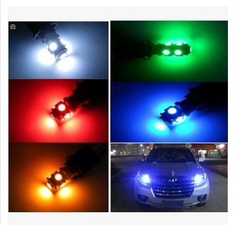 4X Auto Car Lights Bulbs T10 5050 5SMD LED 12V White Blue Red Yellow Green Interior Parking Width Wedge Lamps clearance Lights(China (Mainland))