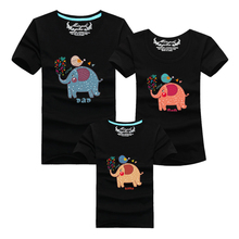 1 pc 95% Cotton T Shirt Elephant Black Family Set T Shirts Matching Family Clothing Men Women Kids Large T-Shirts 4XL Men Tees