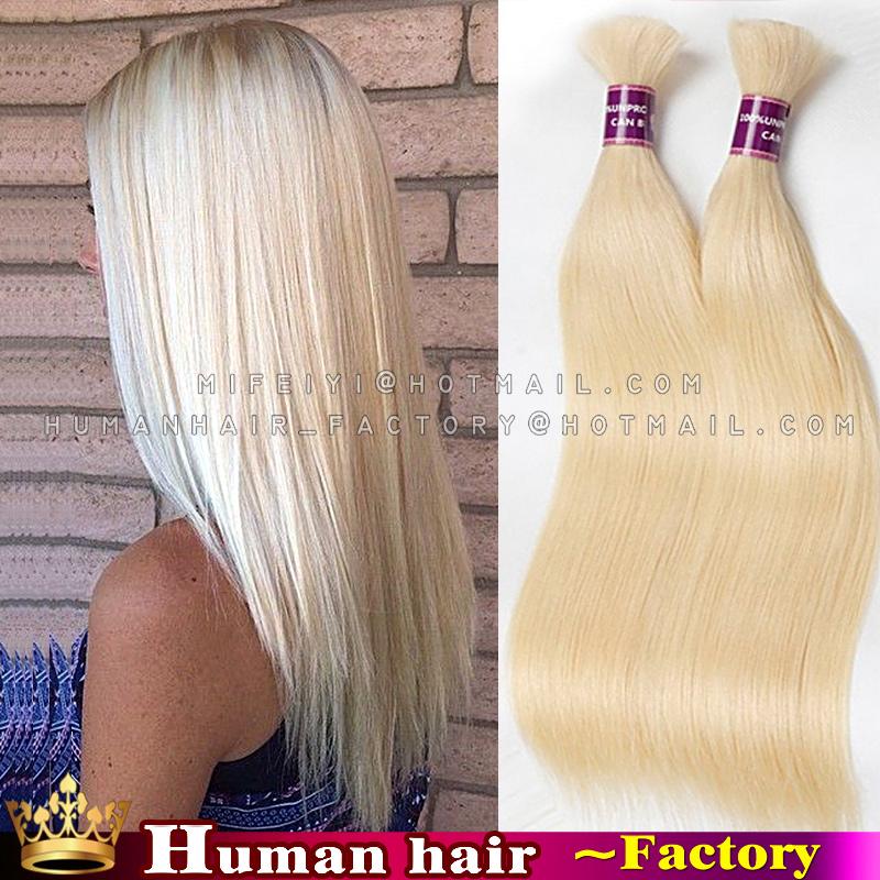 Hot 6A 100% real hair 613 Platinum lightest blonde brazilian straight hair bulk virgin human braiding hair bulk soft and smooth