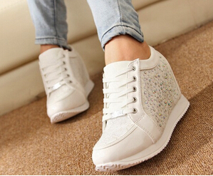 women Hidden Wedge Heels shoes Fashion Women's Elevator ankle boots causal Sneaker Sports Rhinestone Shoes(China (Mainland))