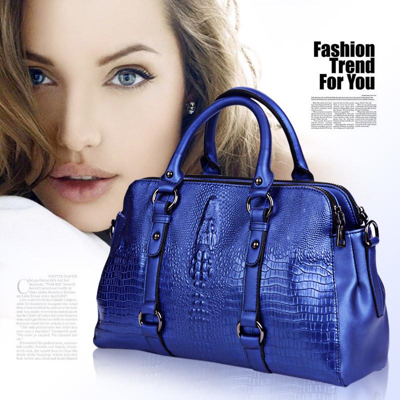 2015 new fashion  women handbag shoulder bags full genuine leather crocodile pattern handbag cowhide messenger bag freeshipping