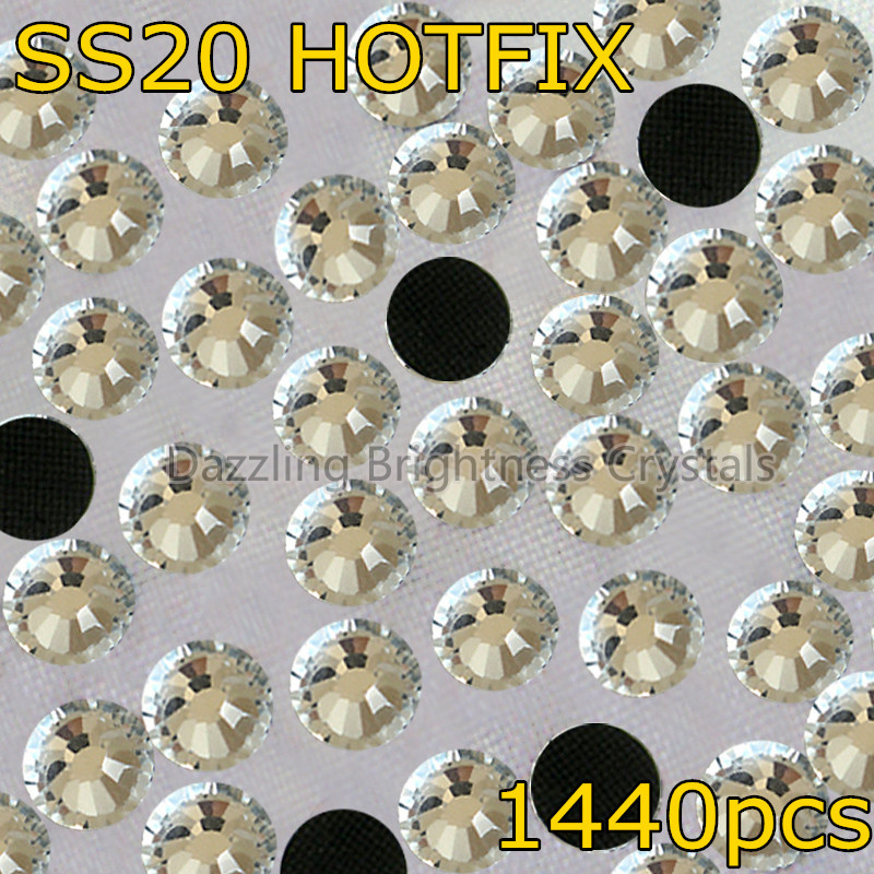 Promotion! DMC Glass Hot Fix Crystal Stones SS20 5mm 1440pcs Clear Heat Transfer Hotfix Rhinestones(China (Mainland))