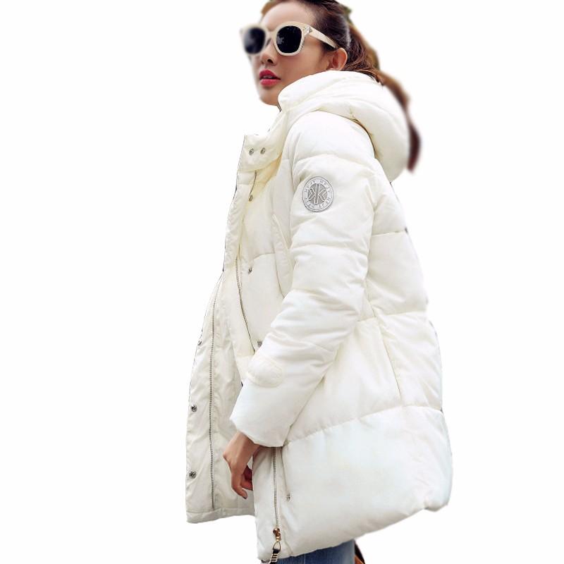 Скидки на 2016 Новых женщин Мода зимняя куртка в долгосрочной разделе ватные куртки сельма парки дамы пальто куртка С Капюшоном женский