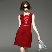 2015 New bodycon leather patchwork dress red color simple vestidos top quality O-collar women tank dress Autumn winter Eva832(China (Mainland))