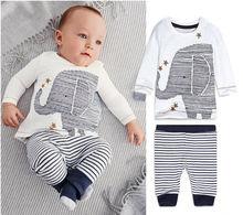 Newborn Baby Kids Boys Clothing Elephant Long sleeve Winter Tops Pants Set Outfits 0~24M