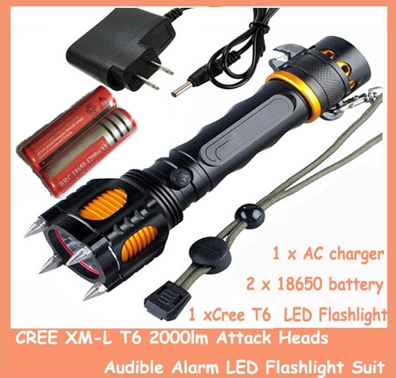 1piece UltraFire CREE XM-L T6 2000lm Attack Heads+Audible Alarm LED Flashlight Suit + 2piece 18650 4000mah battery + charger<br><br>Aliexpress