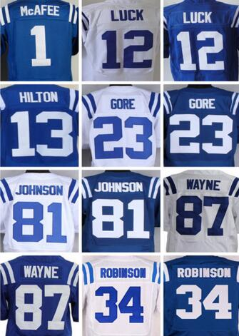 Free shipping Elite 1 McAfee 12 Luck 13 Hilton 23 Gores Jersey,Size M-XXXL,Best Quality(China (Mainland))
