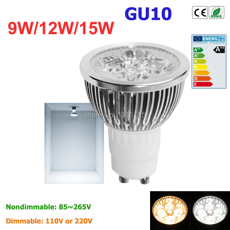 1pcs Super Bright 9W 12W 15W GU10 LED Bulbs Light 110V 220V Dimmable Led Spotlights warm/ cold white Natural White lamps(China (Mainland))