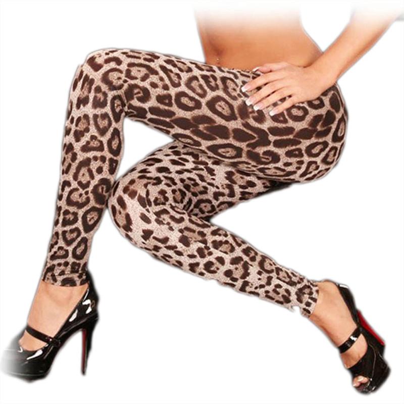Hot Sale New Womens Fashion Slim Stretch Elastic Waist Long Pants Sexy Leopard Print Leggings(China (Mainland))