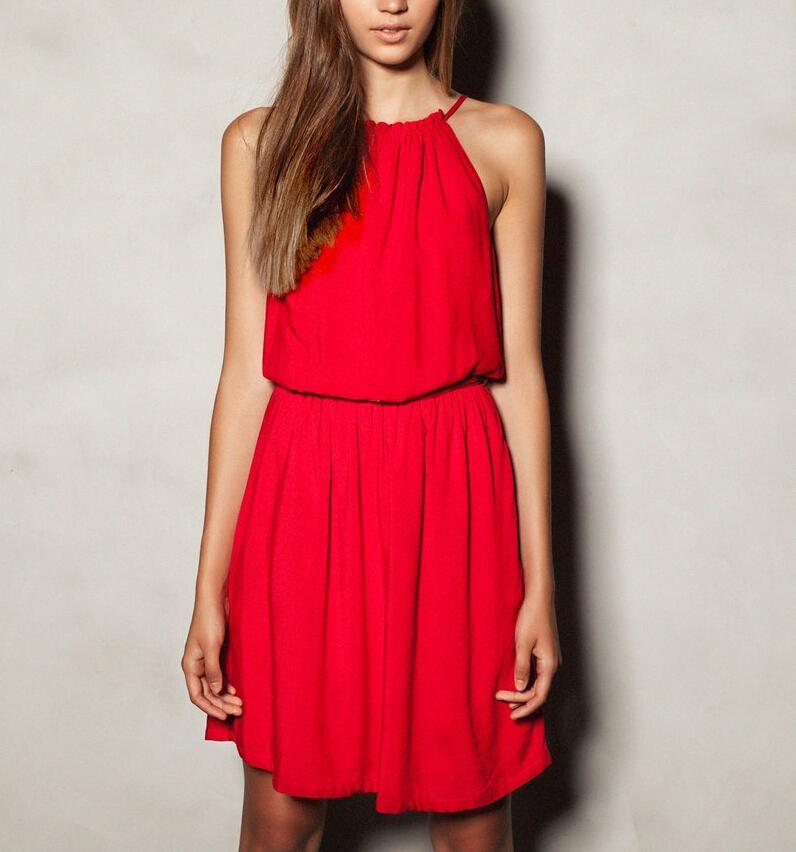 Women sexy summer sling strap Dress vestido de festa sleeveless halter ...