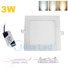 3w Led Square Panel Down Light Ultra thin design Warm/Natural/Cool White Recessed Light for home AC 85-265V SMD2835 Non-dimmable(China (Mainland))