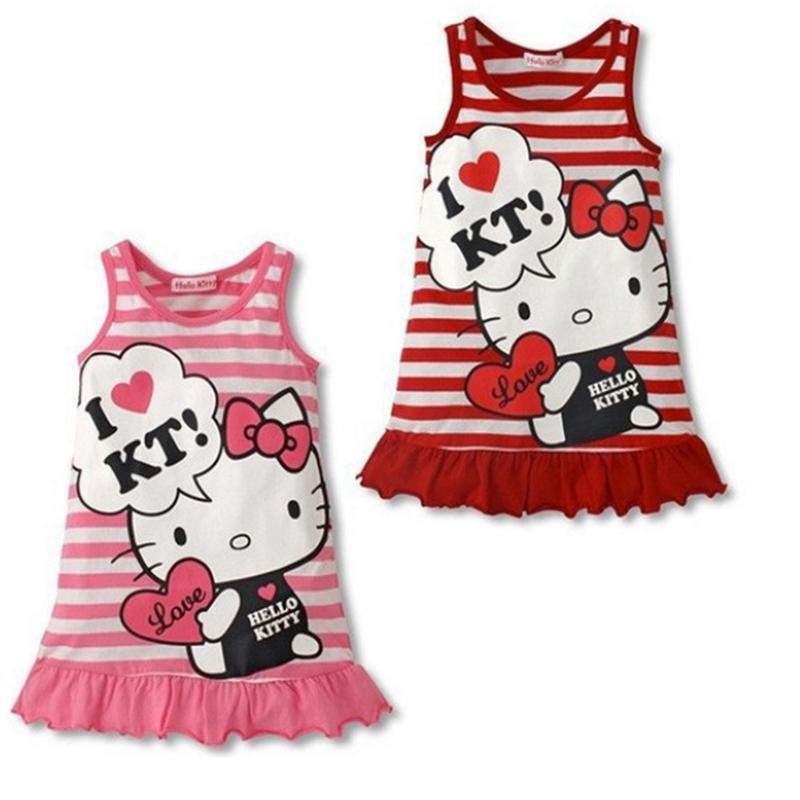 2015 New Vest Dress Cute Red and Pink Princess Dress Girls Baby Clothing Cartoon Cat Stripe Dress(China (Mainland))
