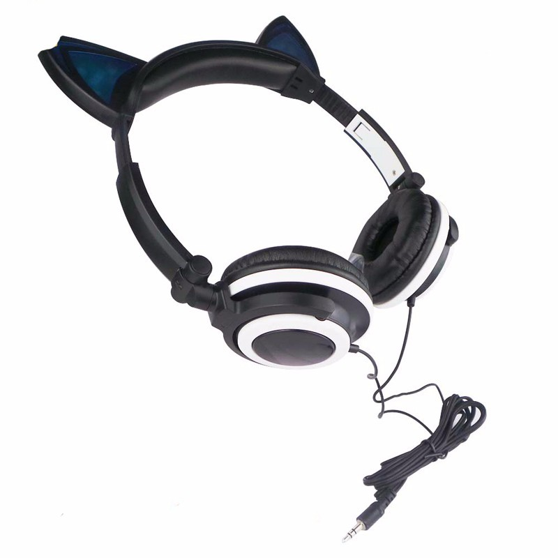 2016 Special Gaming Headset Foldable Flashing Glowing Cat Ear Headphones With LED Light For PC Laptop Computer Mobile Phone