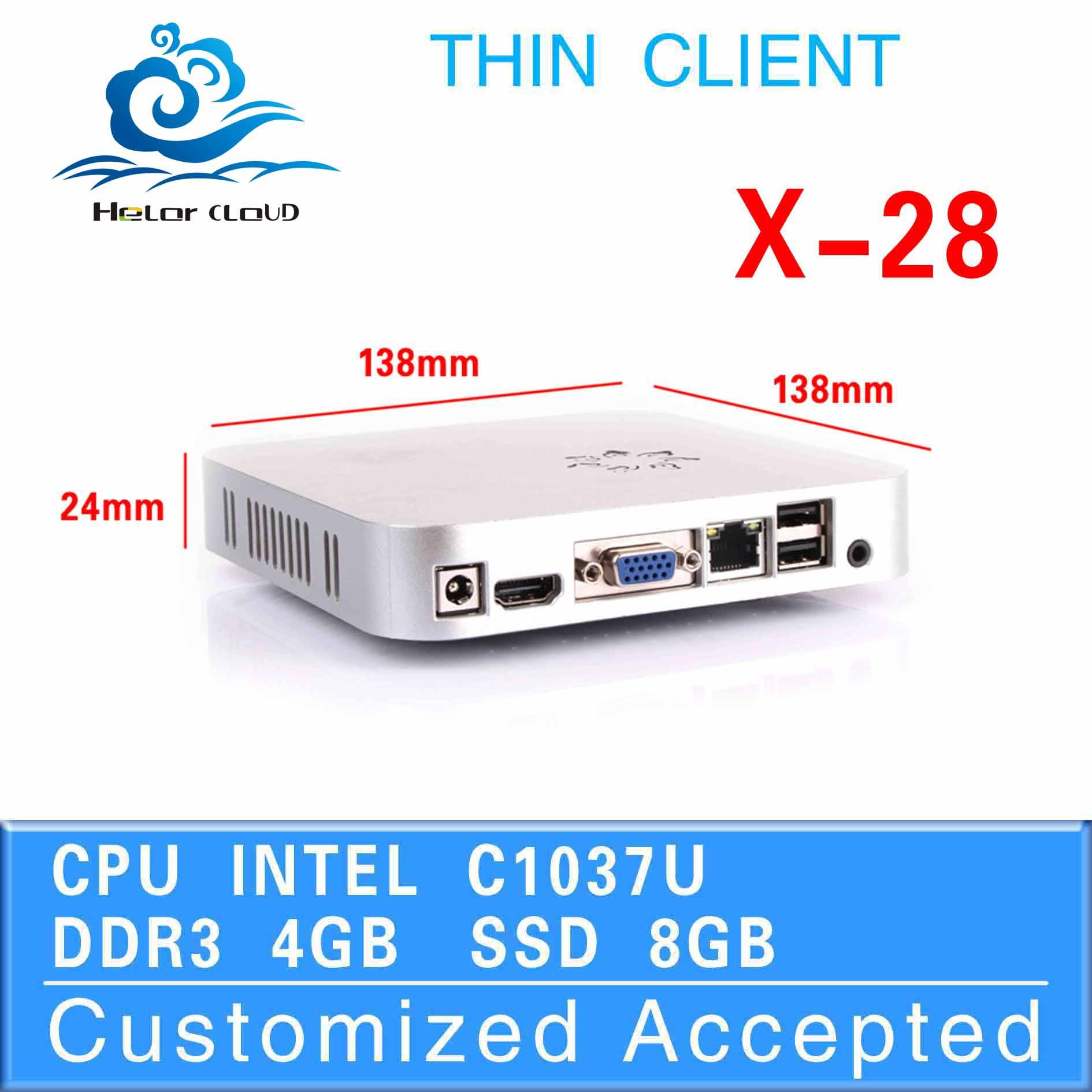 Ultra-low-power pc station x-28 1037u dual core fan embedded motherboard office pc 4g ram 8g ssd no noise low heat thin client <br>