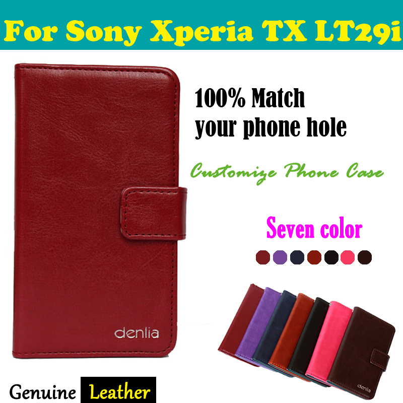 In Stock! 7 Color Top Clamshell Phone Genuine Leather Case For Sony Xperia TX LT29i Magnetic Button Protective Cover+Free Gift(China (Mainland))