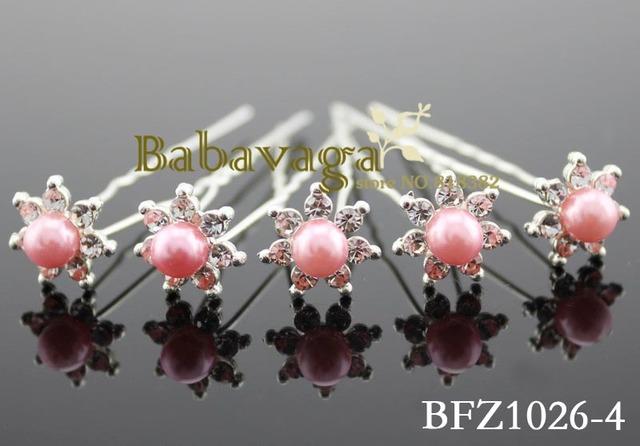 Peach Pearl Rhinestone Hair Pins Accessories Wedding Party Bridesmaid Decoration Free Shipping
