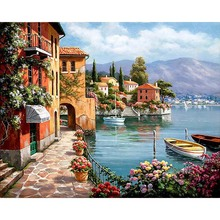 Unframed Venice Resorts Seascape DIY Painting By Numbers Handpainted Oil Painting Living Room Home Wall Decor Artwork 40x50cm(China (Mainland))