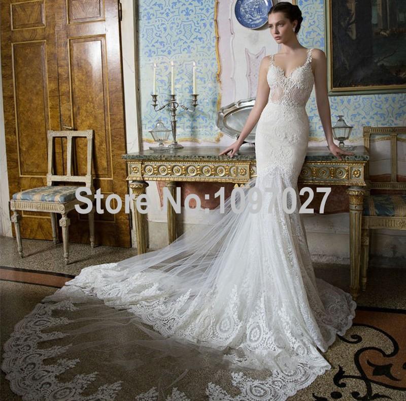 Mermaid sweetheart luxury wedding dress 2016 sexy sheer for Fitted mermaid wedding dresses