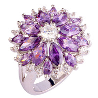 2015 Fashion Women Alluring Flower Purple Amethyst 925 Silver Ring Size 7 8 9 10 New