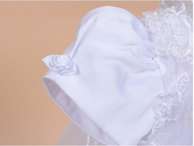 Скидки на С шляпа новый ребенок новорожденных крещение платья крещение платье кружева атласная 0-24month