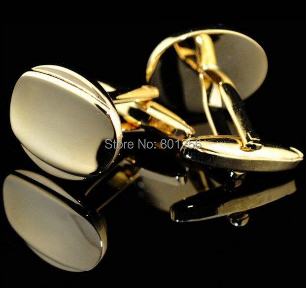 Free shipping Cuff Links gold color round engravable design hotsale copper material cufflinks whoelsale&retail(China (Mainland))