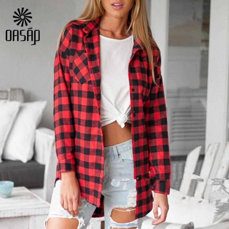 OASAP 2015 Women s shirt Red font b Tartan b font Plaid Print Button Down Shirt