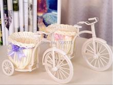 1pc 3 Colors Flower vase Round Basket Big Wheel Rattan Tricycle Decorative Vases Wedding Decoration Tabletop Vase Free Shipping(China (Mainland))