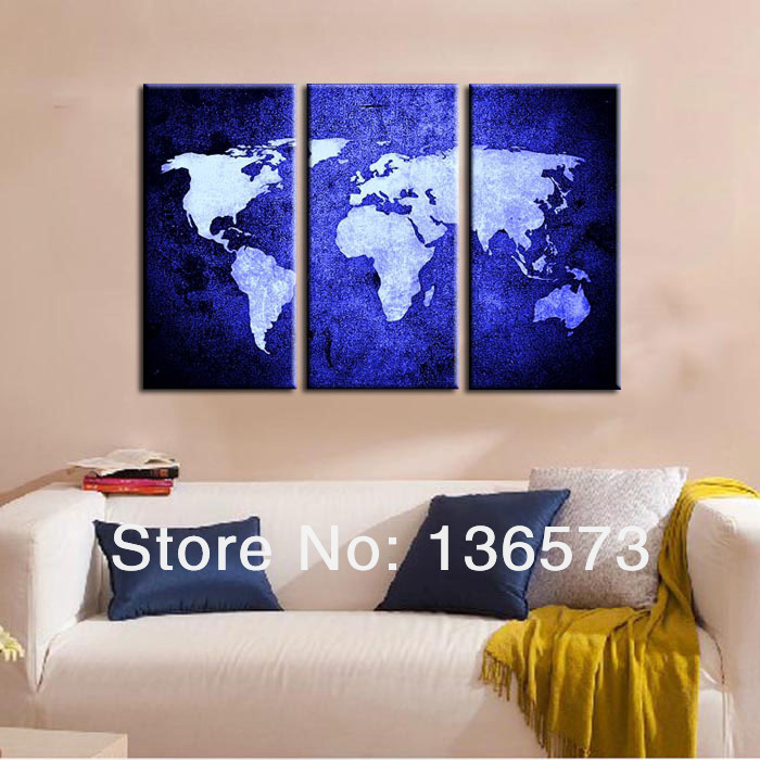 handmade oil painting canvas the blue world map 3 piece. Black Bedroom Furniture Sets. Home Design Ideas