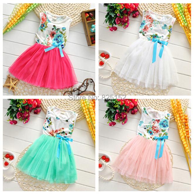 1pc Cute Newborn Child Infant Girl Kids Baby Toddler Pretty Floral Bowknot Children Dresses Tutu Girls' Clothing Princess dress(China (Mainland))