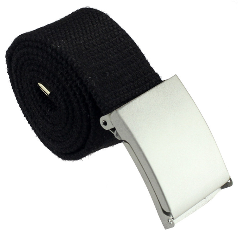 Newly Design Black White Practical Mens Military Canvas Webbing Belt With Metal Buckle July14(China (Mainland))