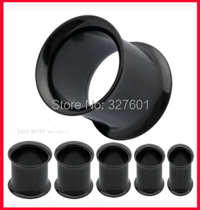 Free shipping,wholesales 200pcs/lot mix 7 size body piercing jewelry Anodized black double flare ear cuff  flesh tunnel<br><br>Aliexpress