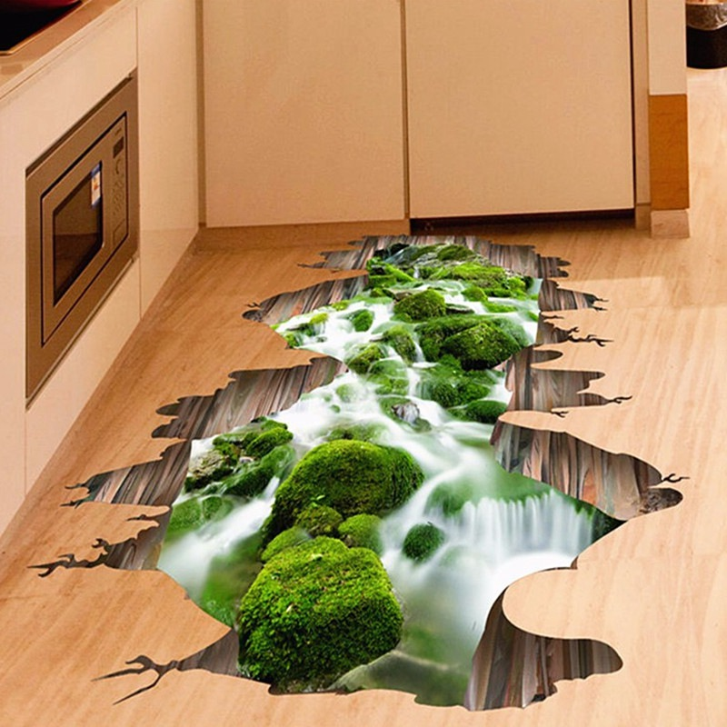 Top Selling 3D Stream Floor/Wall Sticker Removable Mural Decals Vinyl Art Home Living Room Kids Bedroom Decoration(China (Mainland))