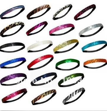 Free shipping 300pcs Elastic Glitter headband Snap Black HairBand Baby Hair Circle Band Hair Ribbon 51pcs colors in stock(China (Mainland))