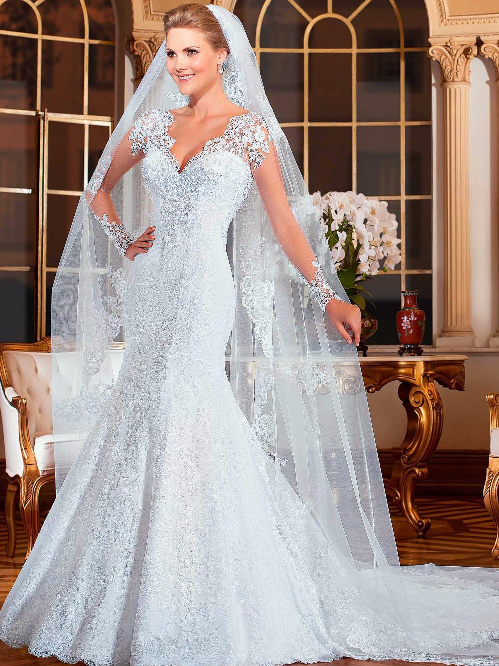 Vestido de noiva sereia Sexy Lace Wedding Dresses See Back Long Sleeve Mermaid 2015 robe mariage - Shining Girl store
