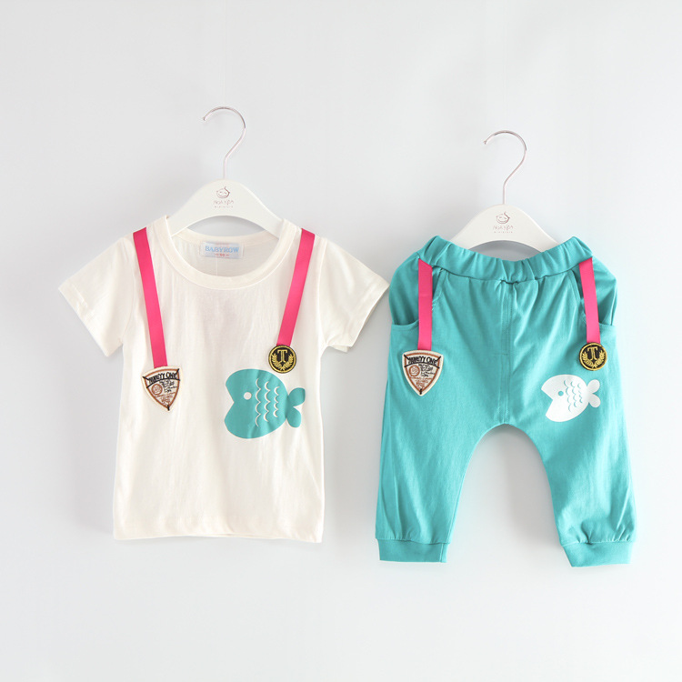 Aliexpress.com : Buy Pseudo Overalls Children Clothing Set Fish ...