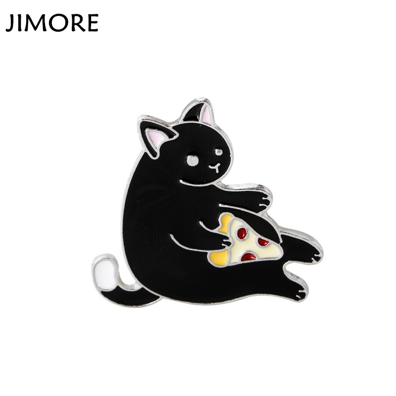 [JIMORE] Cute Black Cat Brooches for Women 2017 Fashion Enamel Pin Badge Metal Broches Mujer Collar Brooch Pins for Girls(China (Mainland))