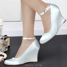 """A610 Ivory Wedges Round Toe Satin Ankle Strap 3.5""""  High Heels Bridal Pumps Women's Wedding Shoes 2016(China (Mainland))"""