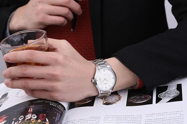 FOTINA Лучший Бренд JK Смотреть Мужчины Из Нержавеющей Стали Reloj Светящиеся Часы Часы Случайный Кварц Платье Смотреть Авто Дата Спортивные Наручные Часы