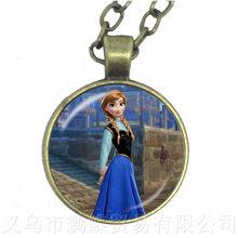 2018 nowych moda damska 60 + 5cm długości-naszyjniki biżuteria szkło Cabochon Princess Anna królowa śniegu wisiorek naszyjnik dziewczyna(China)