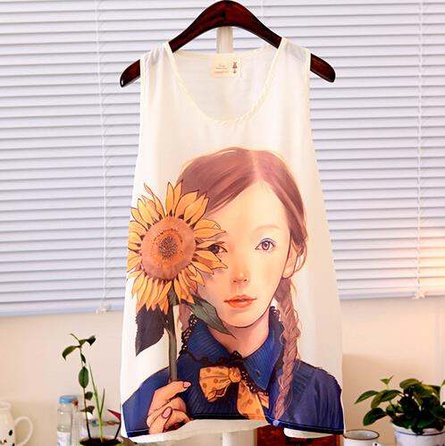 Summer Fashion Women Tops Mori Girl Cute Cartoon Totoro Sunflower Printed Tee Shirt O-Neck Chiffon Patchwork Tank Top(China (Mainland))