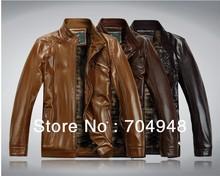 new fashion high quality autumn& winter can plus velvet men's leather jacket brand genuine sheepskin coat free shipping(China (Mainland))