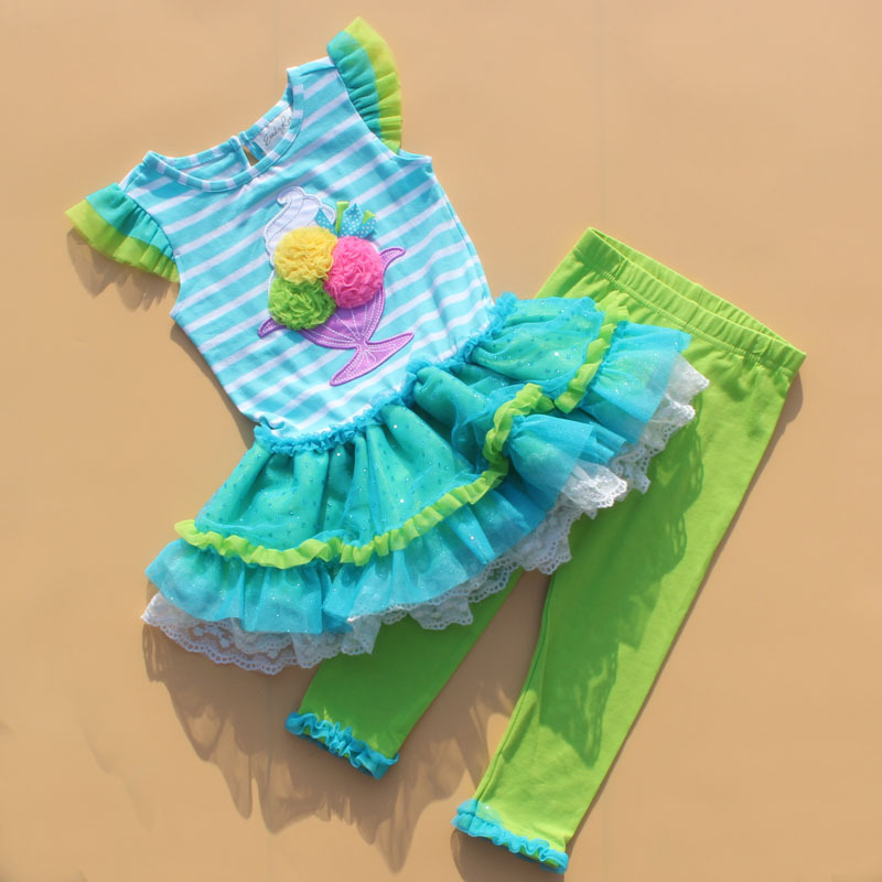 Free Shipping 6 sets/lot Rare editions 12M-7T New Girl Super Sweet Ice-cream Dress and Pants 2 Pieces Summer Cotton Outfit<br><br>Aliexpress