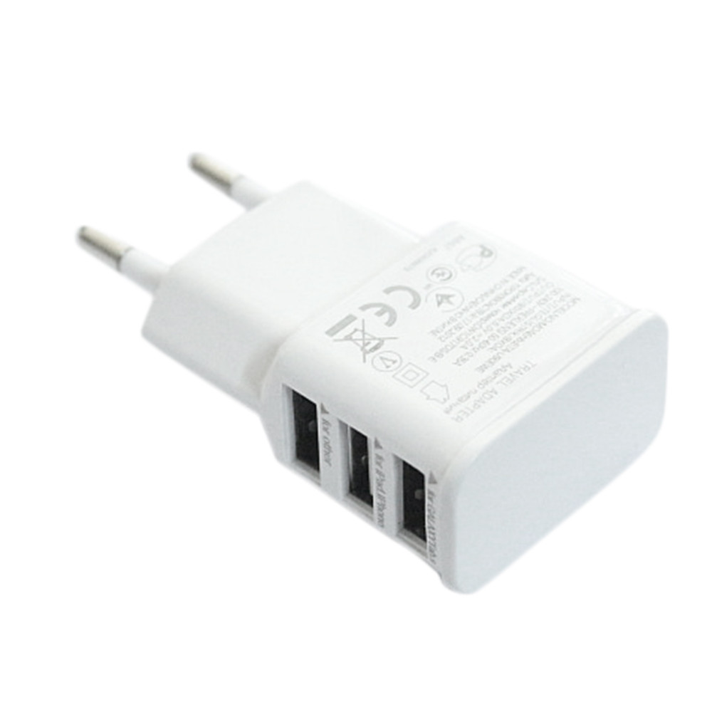EU Plug 3 Ports USB Wall Travel Charger Adapter for Iphone 6 6S for Samsung IOS Android Smartphone