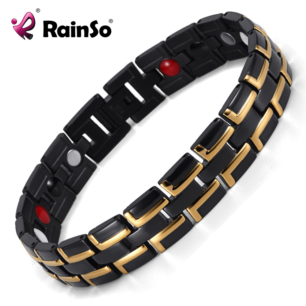 Good Sale Fashion Rainso Brand 3 Health Care Elements Stainless Steel Classic Black&Gold Magnetic Bracelet For Men OSB-086-01BG(China (Mainland))