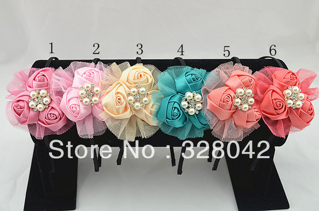 Trail order princess Boutique triple satin rosettes flower hairband GIRL mesh flower Sparkling Pearl centre headbands 12pcs/lot