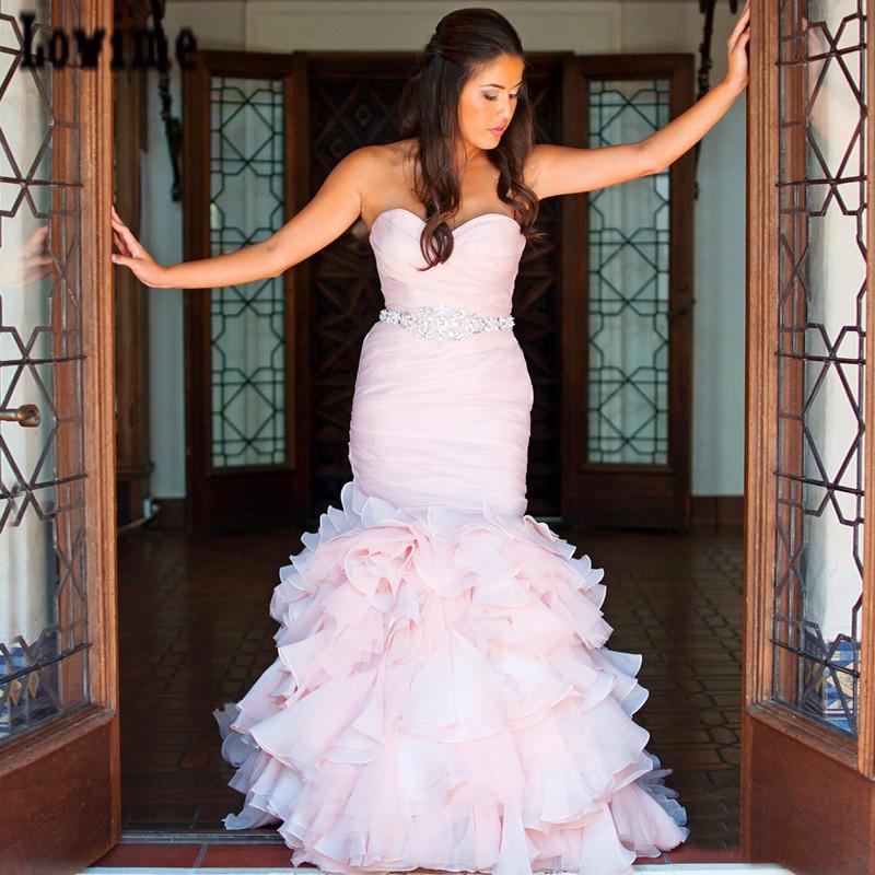 Pink Wedding Dress Sash : Gelinlik pleats mermaid pink wedding dresses with